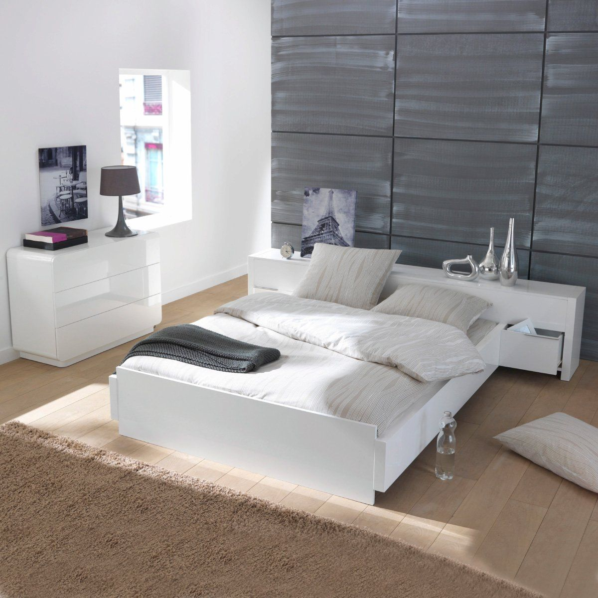 lit plateforme t te de lit tiroirs 2 places newark. Black Bedroom Furniture Sets. Home Design Ideas