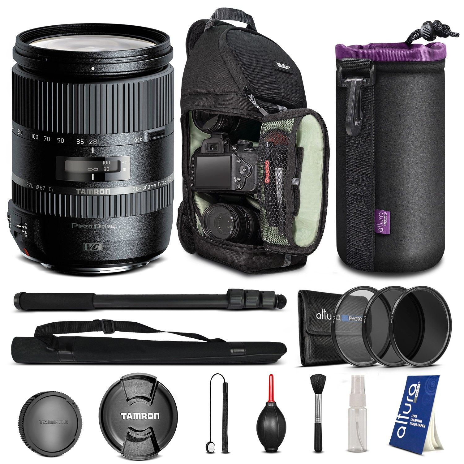 Tamron AFA010C700 28-300mm f/3.5-6.3 Di VC PZD Zoom Lens for CANON EF Digital SLR Cameras + BACKPACK & FREE ACCESSORIES