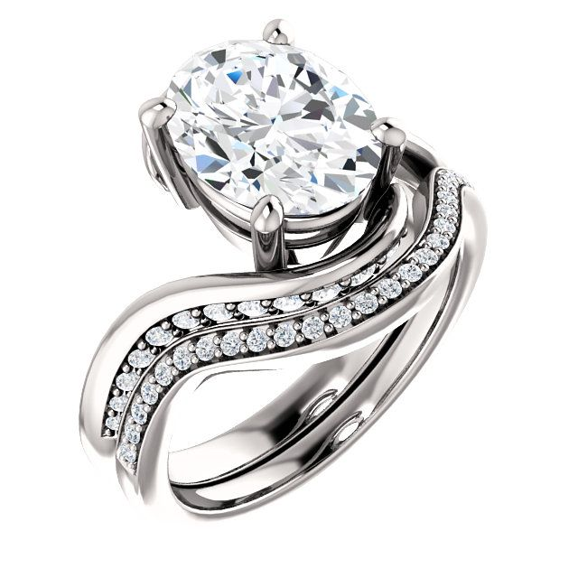 10kt White Gold 10x8mm Center Oval Immitation Diamond And 24 Accent Round Diamon Oval Diamond Engagement Ring Diamond Bridal Ring Sets Diamond Engagement Rings