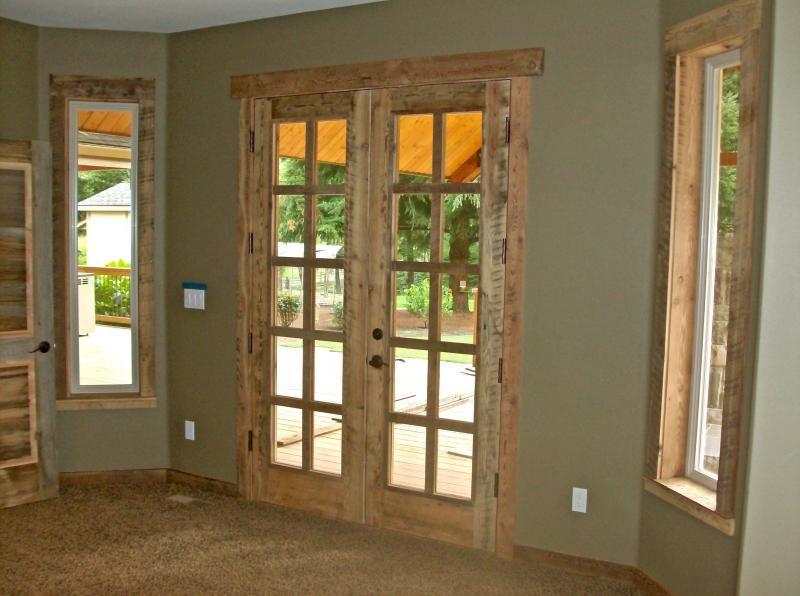 Barnwood Style Paneling Skim Planed Reclaimed Circle Sawn 8 Light French Doors