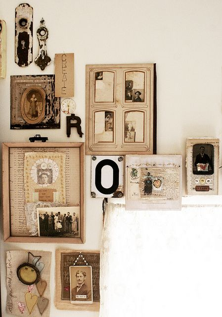 vintage photo display - I need to do this (with scanned reprints of course) and add those 3D family trees and framed trinkets.