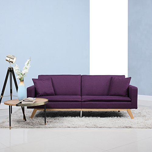 Modern Tufted Linen Splitback Recliner Sleeper Futon Sofa Purple Sofa Modern Furniture Living Room Futon Sofa
