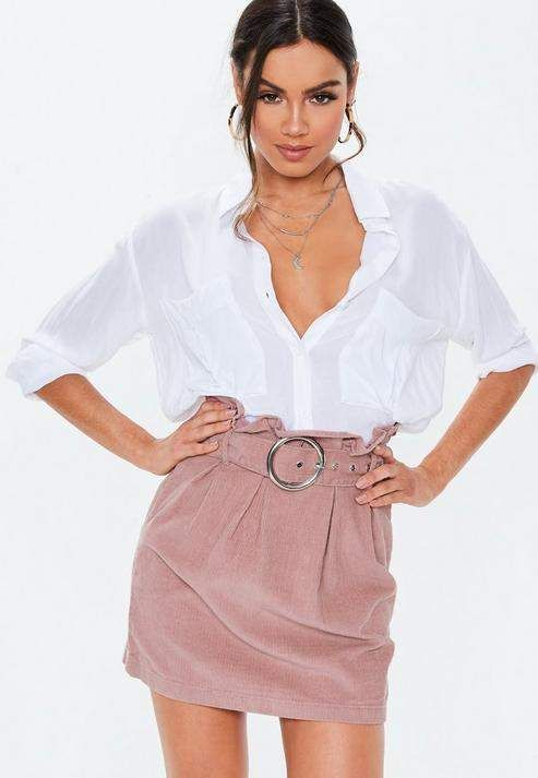 92dbe925e Missguided Blush Paperbag Waist Belted Cord Skirt in 2019 | Products ...