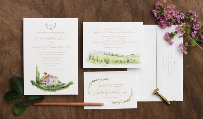 Florence Italy Custom Watercolor Wedding Invitation Painted