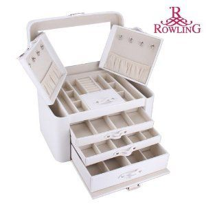 ROWLING Super Large Faux Leather Jewelry Box Organizing Jewelry