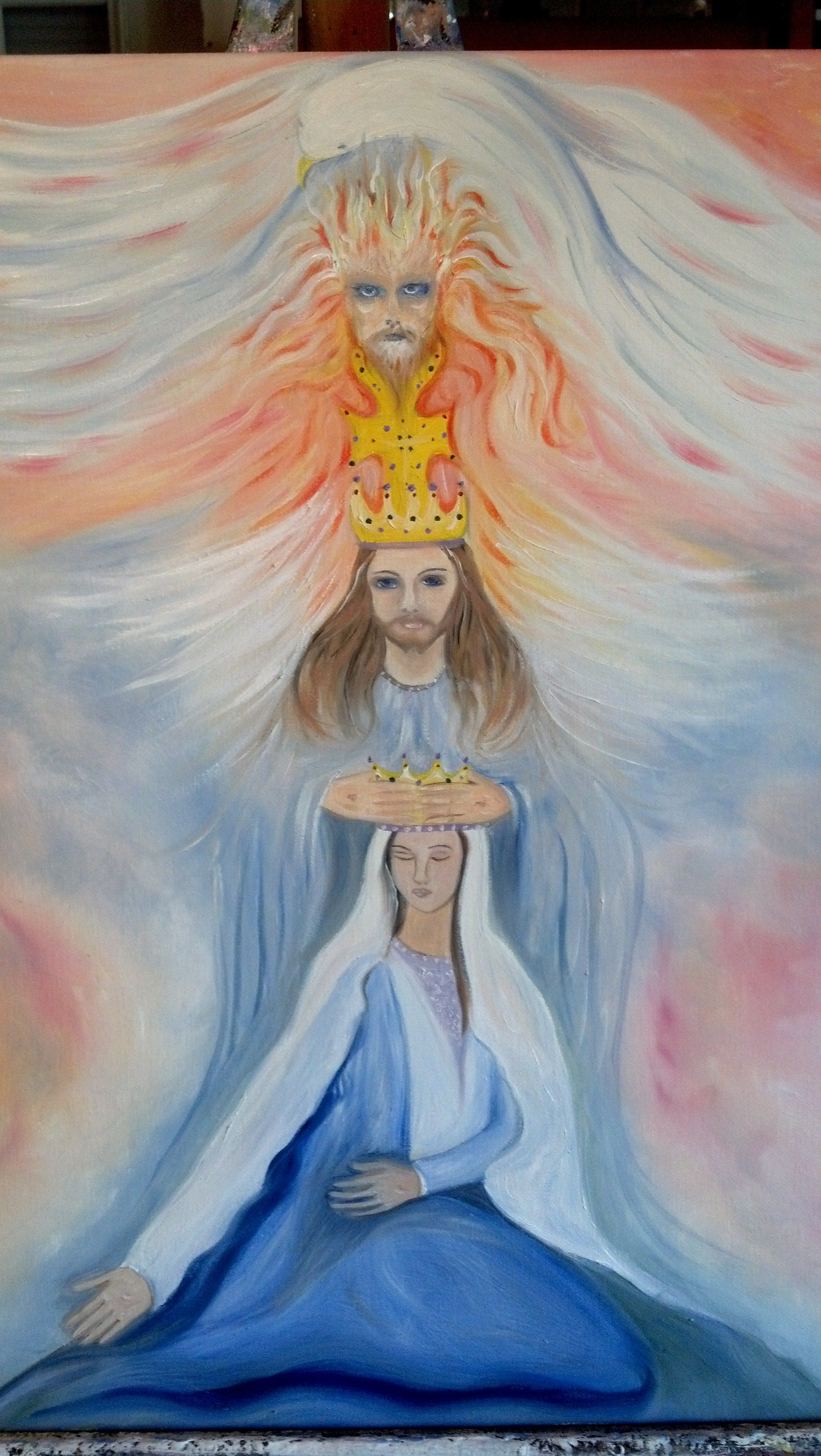 Trinity plus One - The Holy Spirit, God The Father, Jesus Christ, and his Mother Mary, Queen of The Universe.