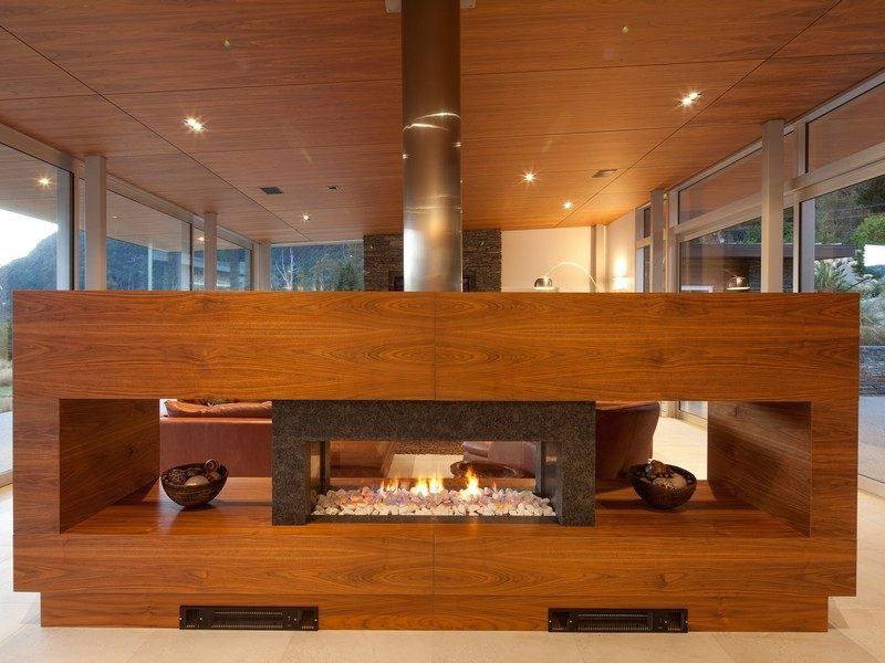freestanding fireplace as divider of room Interior inspiration