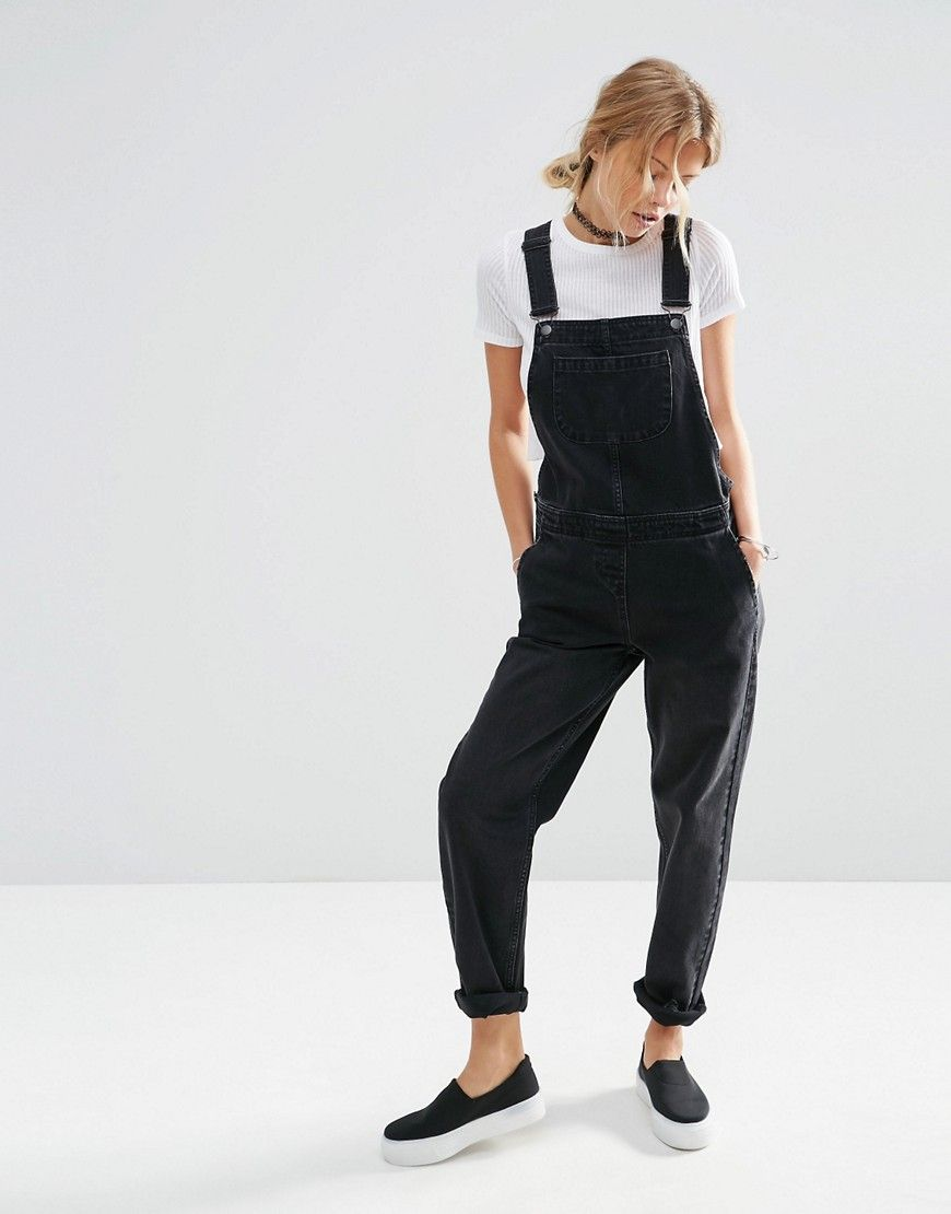 1dfb7fead37 ASOS Denim Overalls in Washed Black - Black