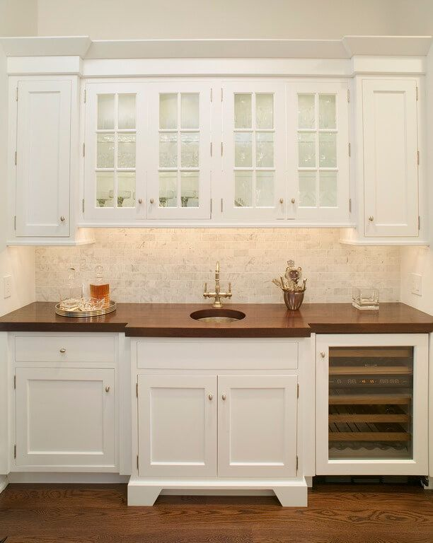 Bright White Wet Bar With Cherry Wood Countertop Wood Countertops Wet Bar Wood Countertops Kitchen