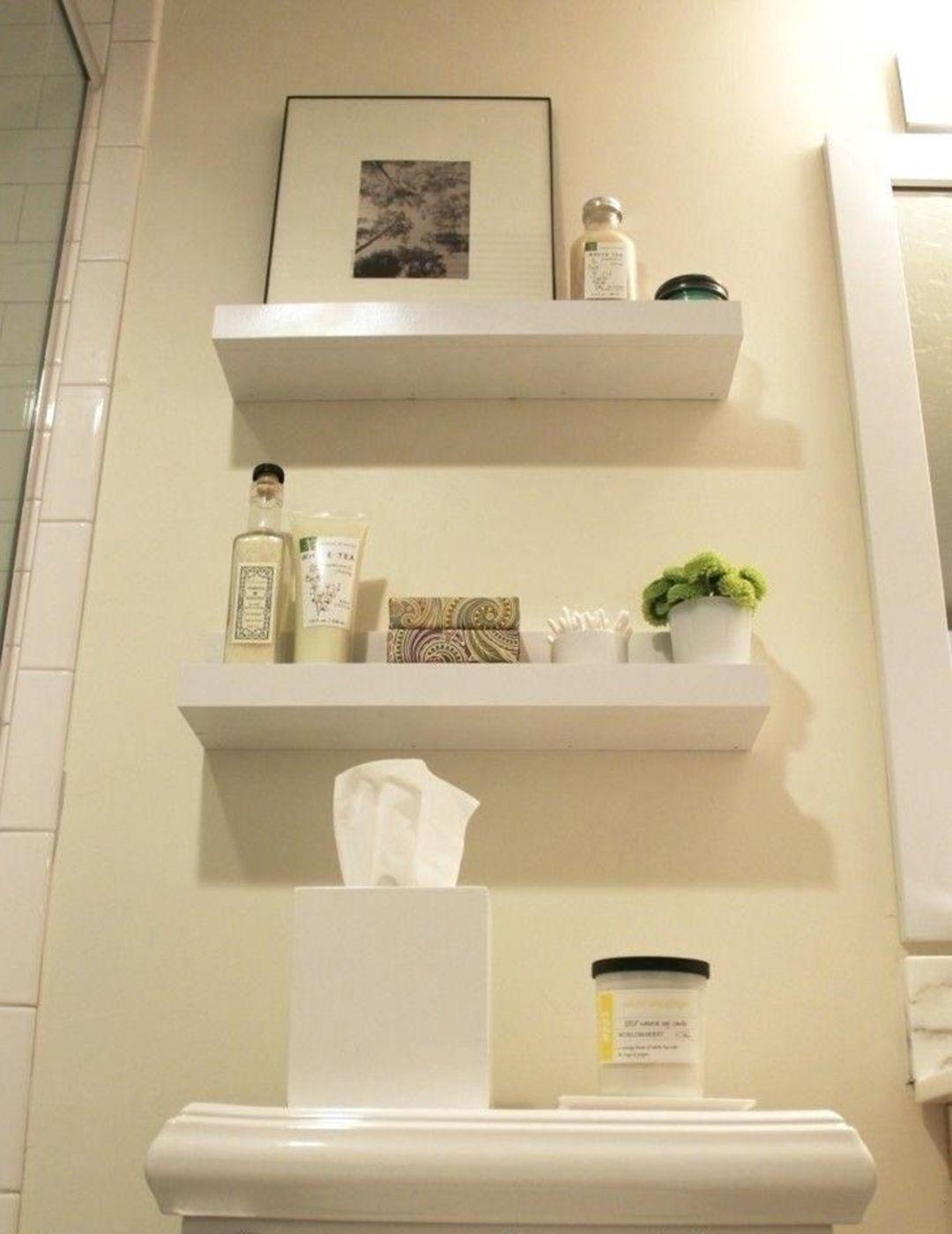 15 Interesting Floating Wall Shelves For Your Bathroom Style Ideas Design Decorating Bathroom Wall Shelves Shelves Above Toilet Diy Bathroom Storage Small bathroom wall shelf