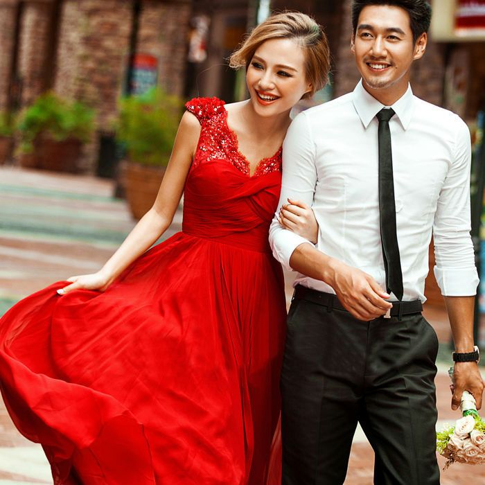 >> Click to Buy << Red Appliques Sequins Beach Chiffon Wedding Dresses 2015 With Cap Sleeve New Design Princess Long Bridal W2082 V-neck Stunning #Affiliate