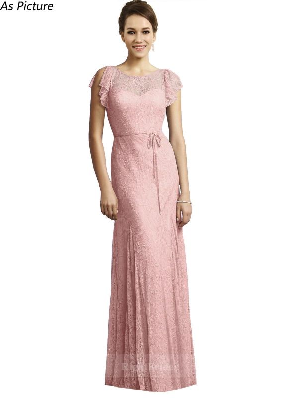Best 2018 Sweetheart Long Lace Salmon Bridesmaid Dresses Canada ...