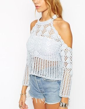 3c19f65da5662e Enlarge ASOS Crochet Top With Cold Shoulder