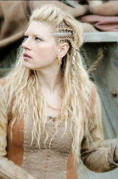 Viking Woman With Traditional Light Hair And Handmade Dress