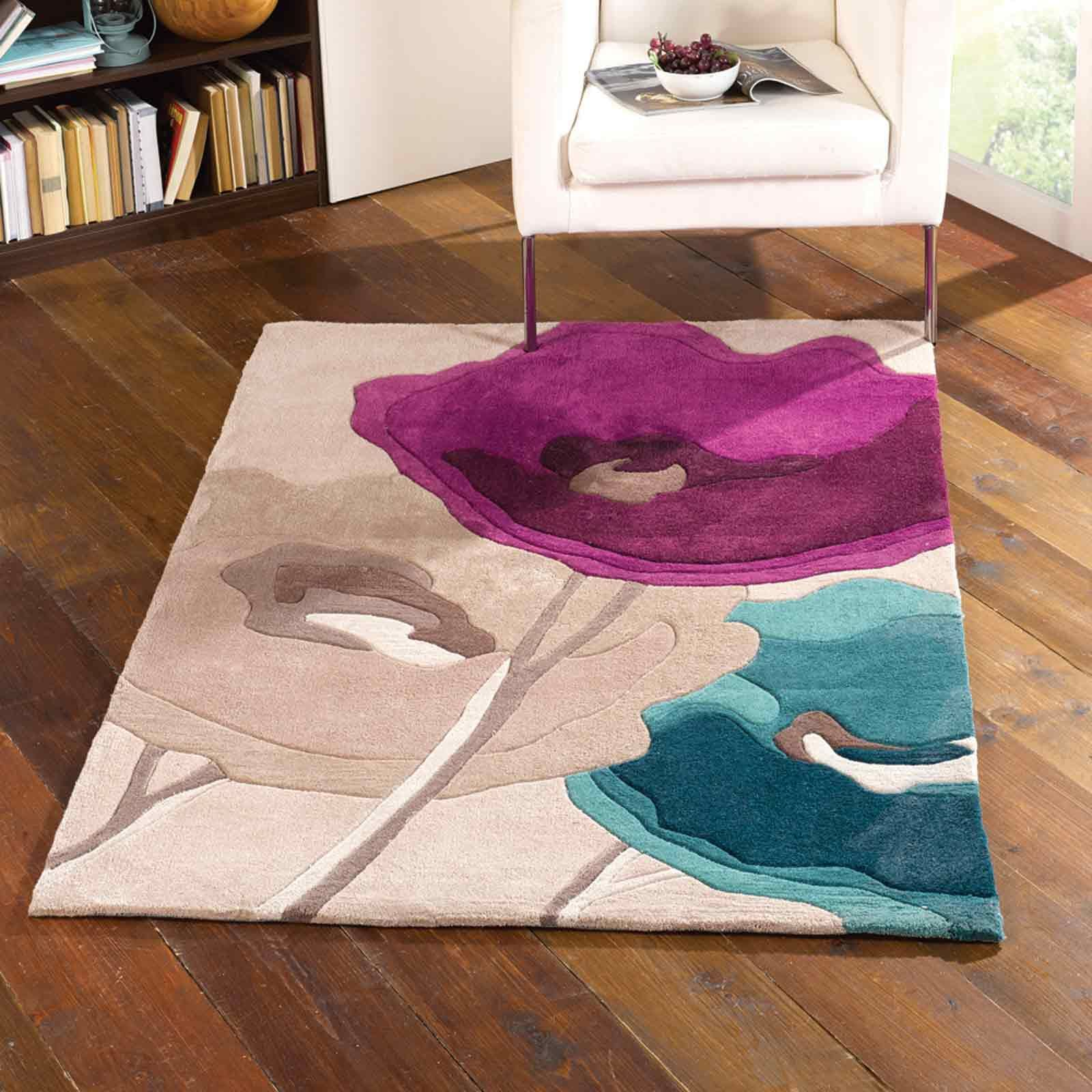 Infinite Mod Art Poppy Flowers Teal Purple Floor Rug From Comfortzone