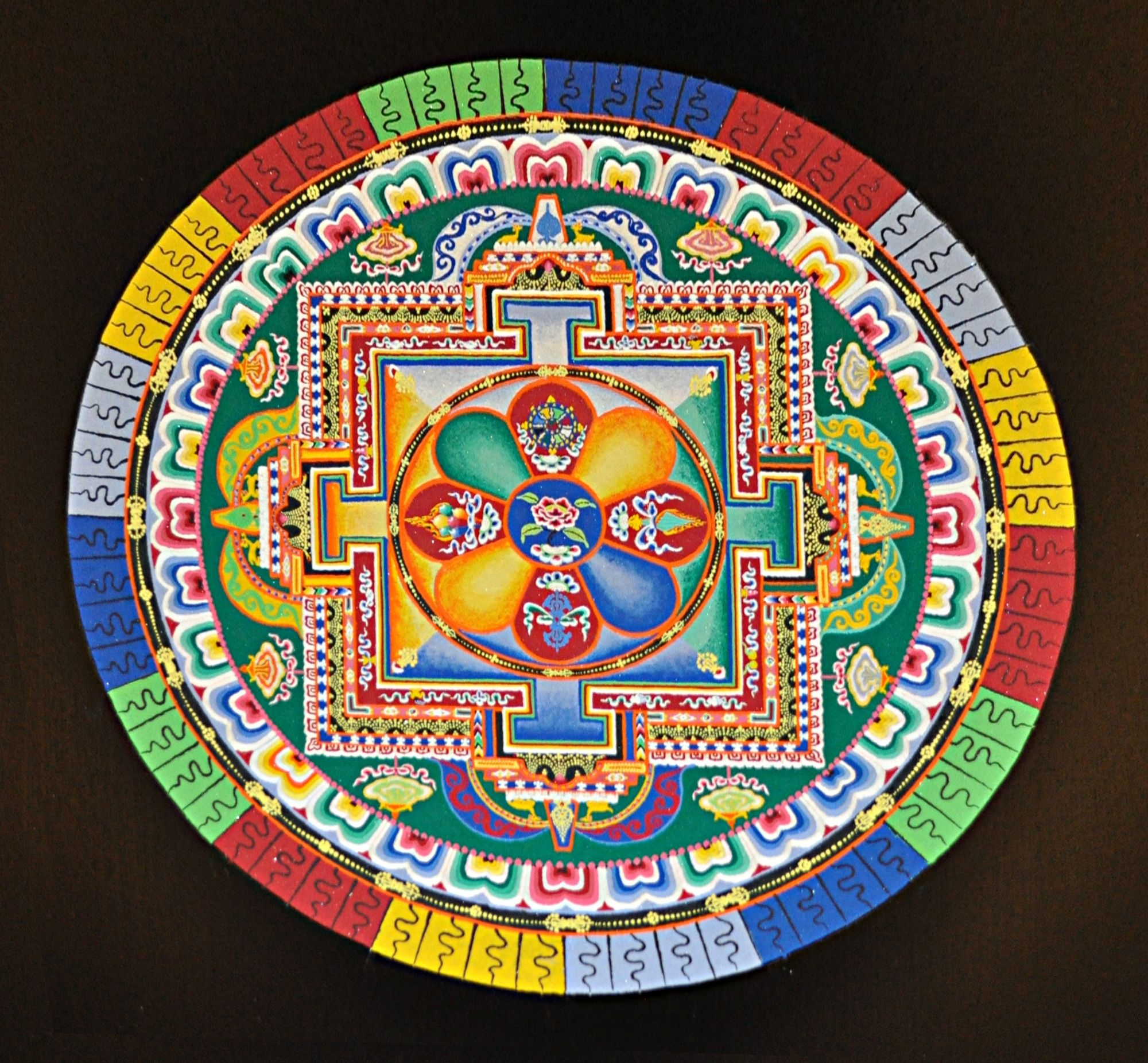 Tibetan Monks' Mandala Sand Painting-After the monks had completed the mandala, they allowed the public to observe the painting for one hour before they destroyed it with a brush,
