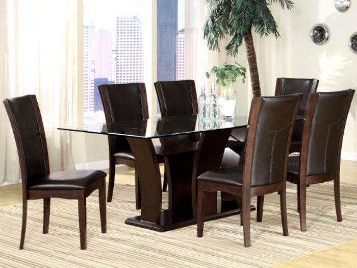 Solofurn 72 Inch 6 Seater Glass Top Dining Sets Glass Top Dining