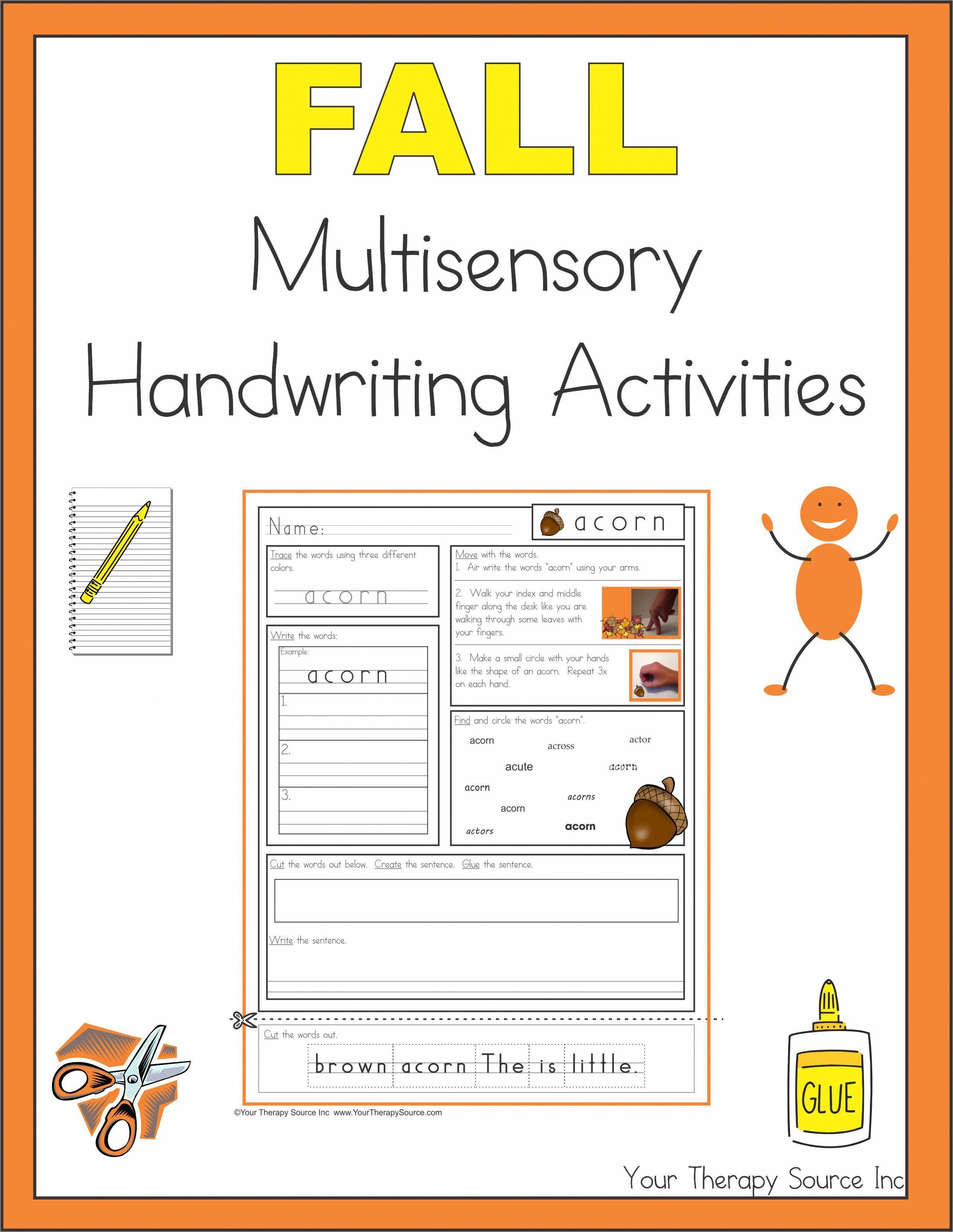 Fall Multisensory Handwriting Activities Fall