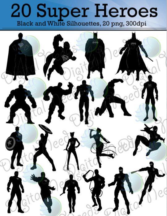 20 Supereroe Mix Silhouette Clipart Supereroe Di Digitalneeds Superhero Silhouette Superhero Clipart Superhero