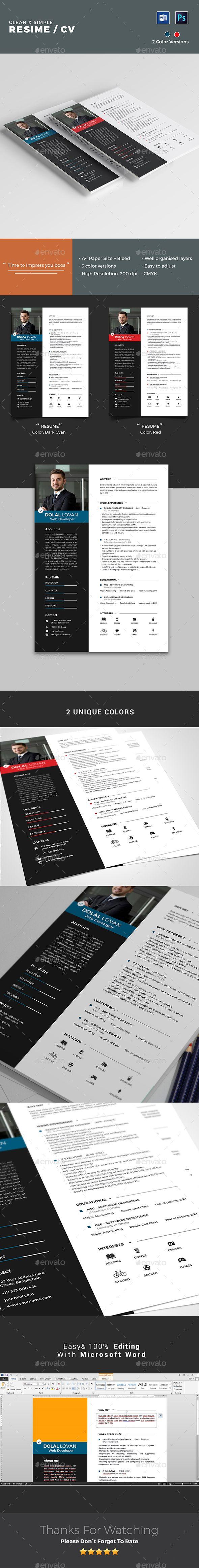 clean resume template by rakibsarowar a creative  modern
