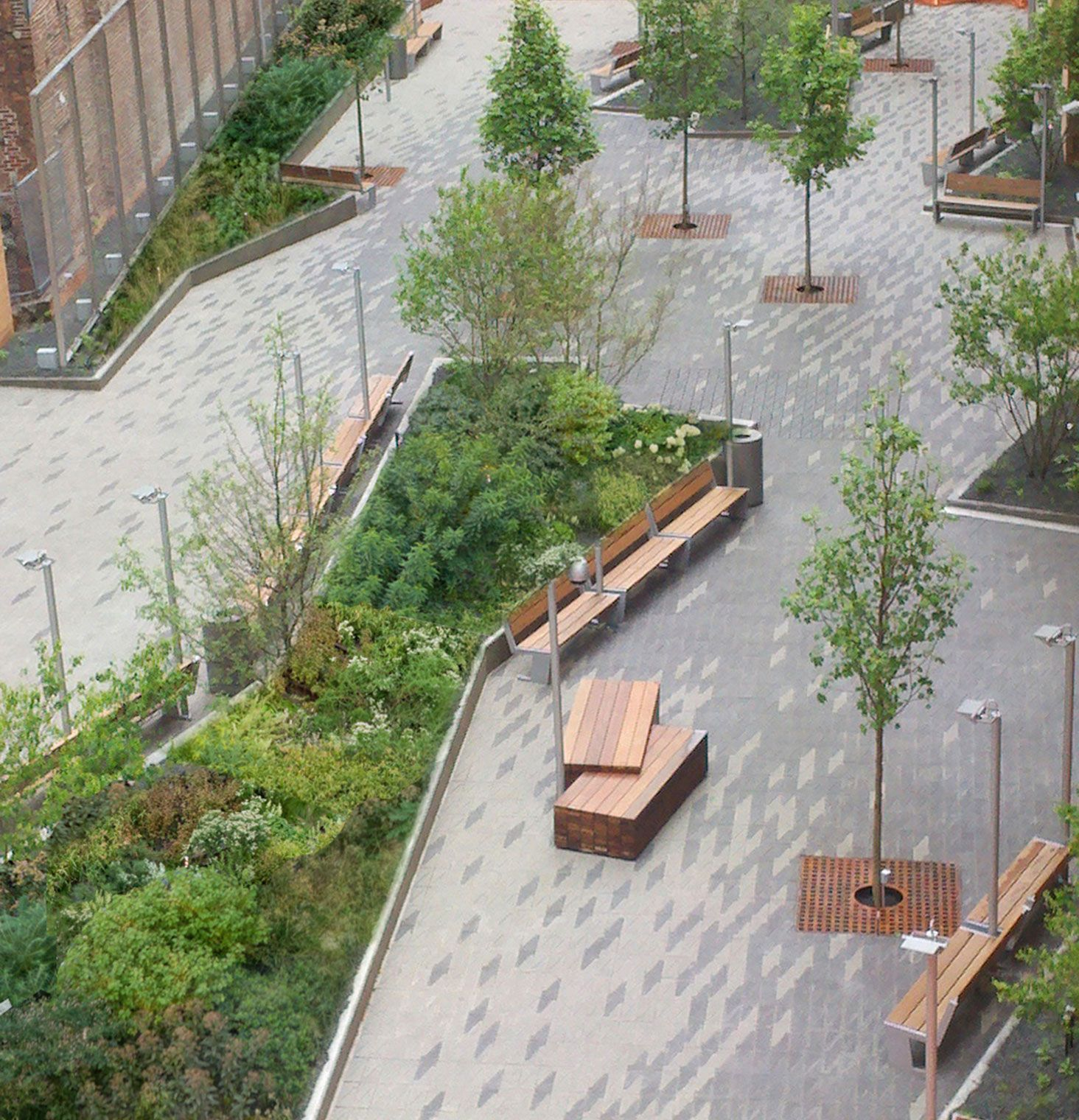 Beekman plazas by james corner field operations and piet for Urban garden design