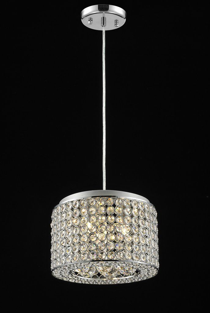 "761 Lighting Originals Jewel Collection 10"" wide Mini Drum Crystal Pendant Light with Crystal Balls"