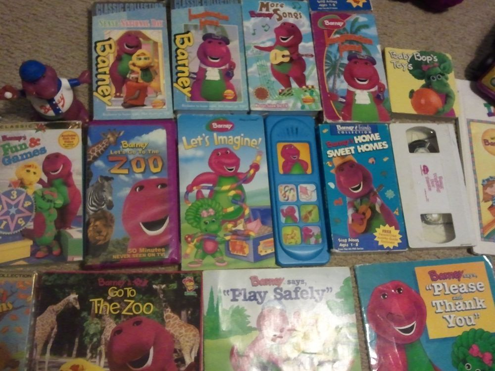 Lot Of 23 Barney Purple Dinosaur Collectibles 24 Vhs Videos Plush Books More Fisherprice Barney Fhe Plush