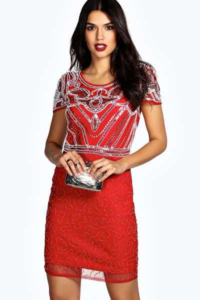 Boutique Evelyn Hand Beaded Shift Dress at boohoo.com