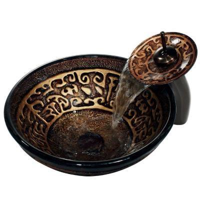Vigo Golden Greek Vessel Sink in Browns and Waterfall Faucet in Oil Rubbed Bronze