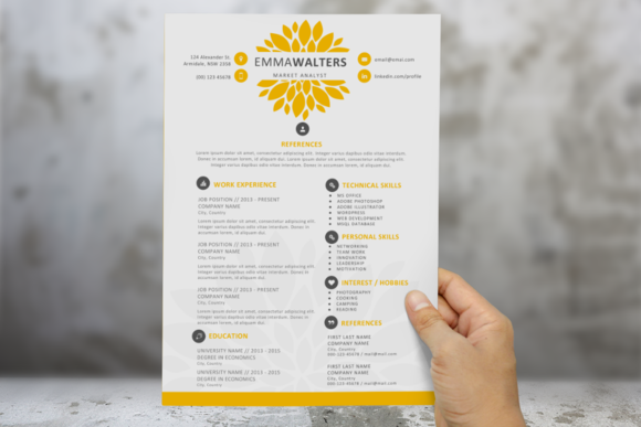 Creative Flower Resume Template  Template