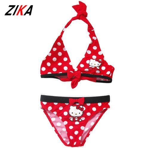 2017 Summer Cartoon Baby Girls Swimwear Cute Hello Kitty Swimsuit Kids  Bikini Child Swimsuit C10 /