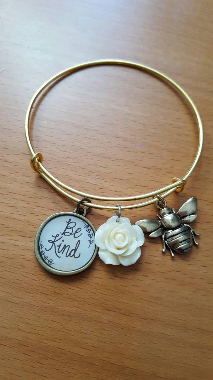Be Kind Vintage Style Charm Bracelet By Beyoubyshallima On Etsy