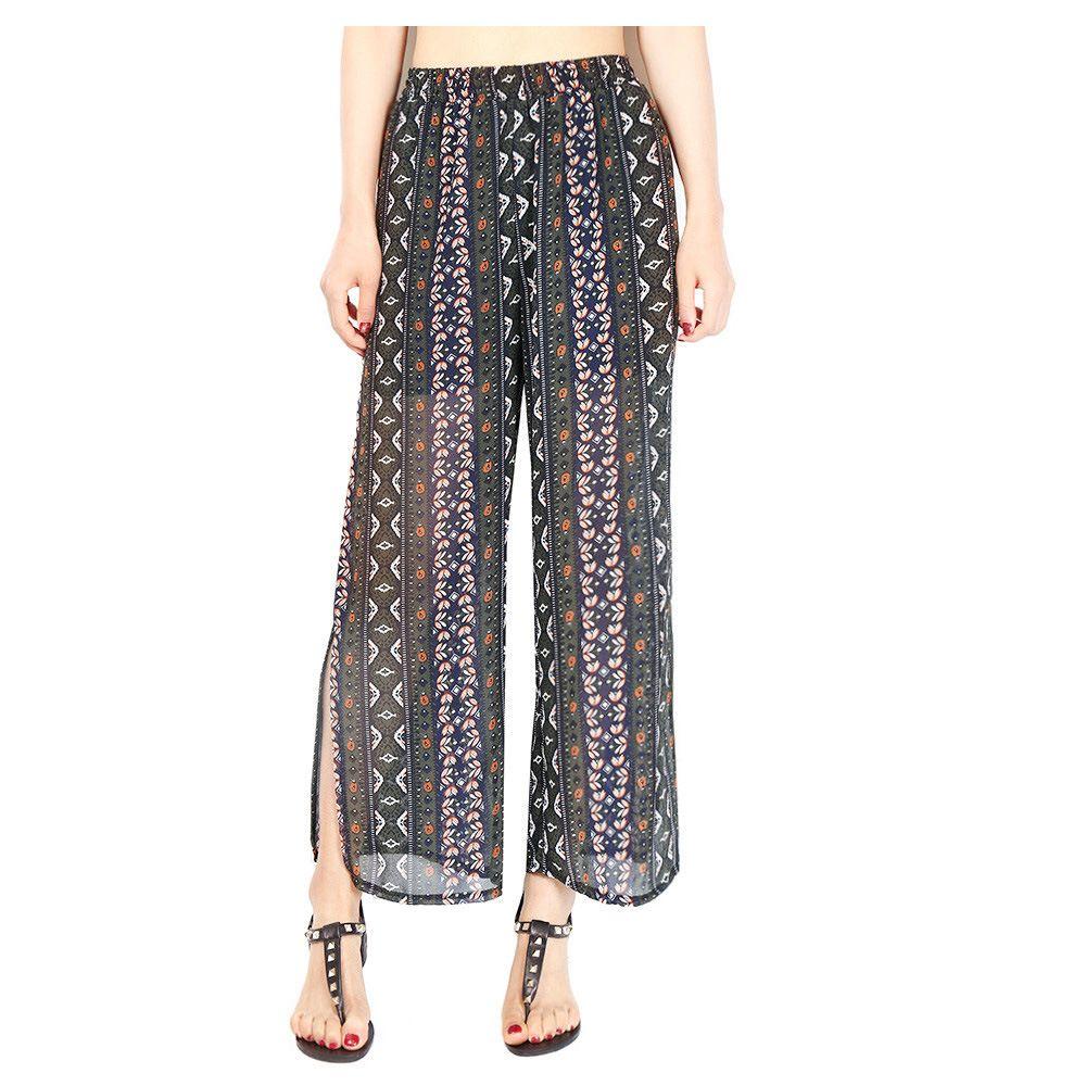 Women Chiffon Loose Casual Pants High Waist Summer Side