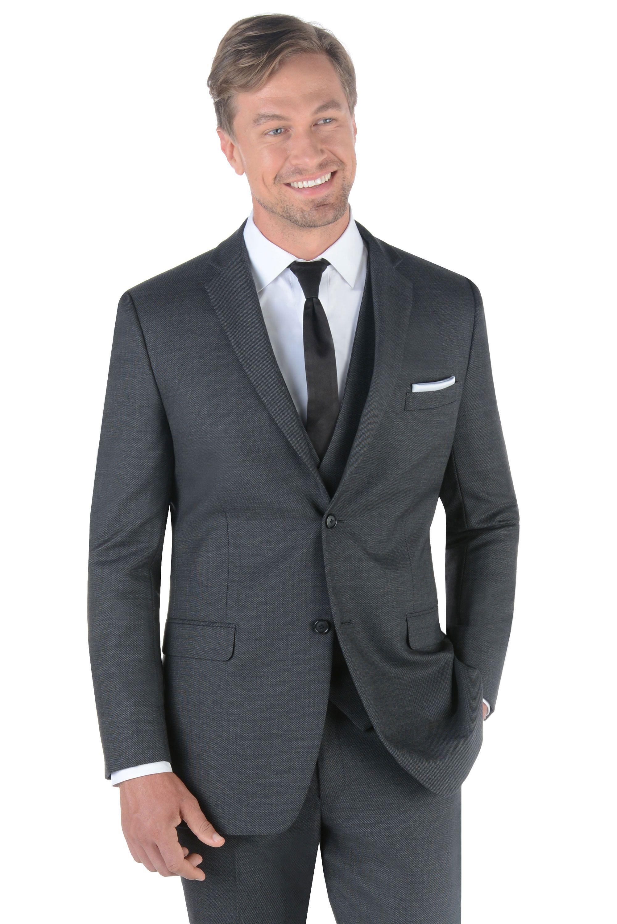 Charcoal grey manhattan by ike behar savvi formalwear