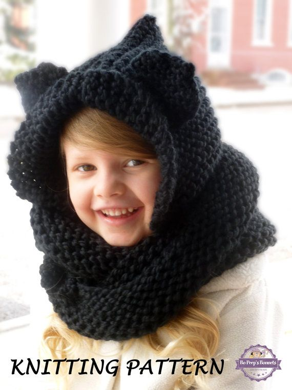 Hooded Cowl Knitting Pattern - Hooded Cat Scarf Knit Pattern