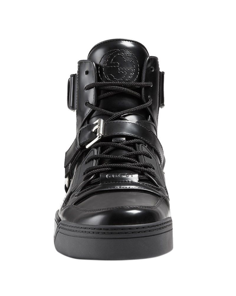 e074c05461b3 Gucci Mens Black Shiny Leather GG Horsebit High Top Sneakers Shoes Black US  11 10