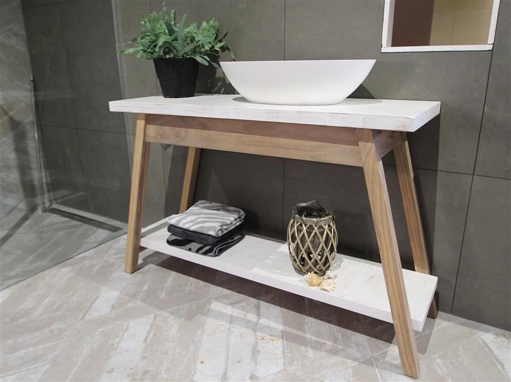 Sanitair Van Hout : Houten badkamermeubel van teak hout met waskom luca wood via luca