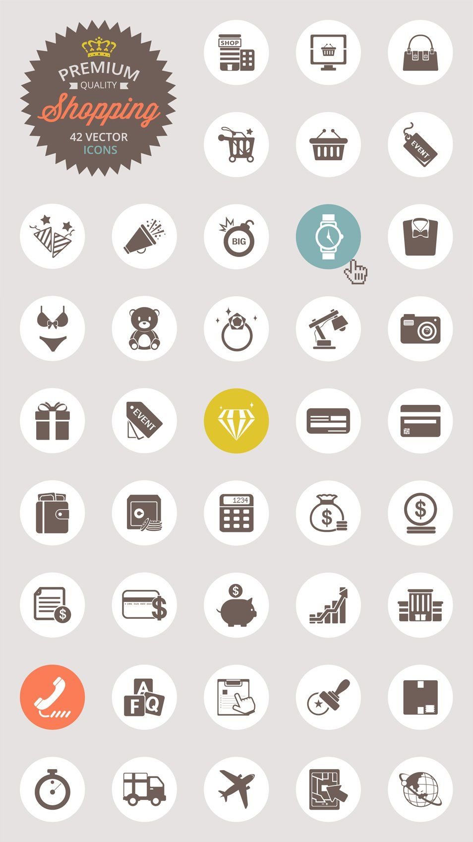 Vector Shopping Icon Set (PNG, PSD, AI, EPS) Бесплатные