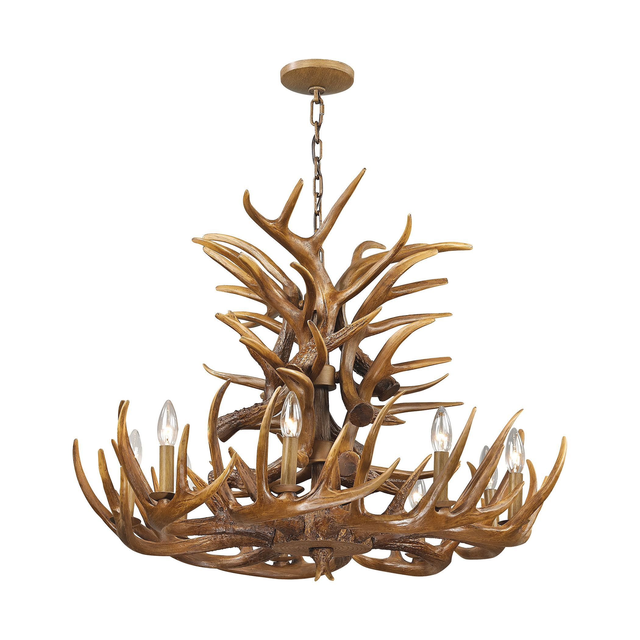 Elk 9 Light Chandelier In Wood Brown