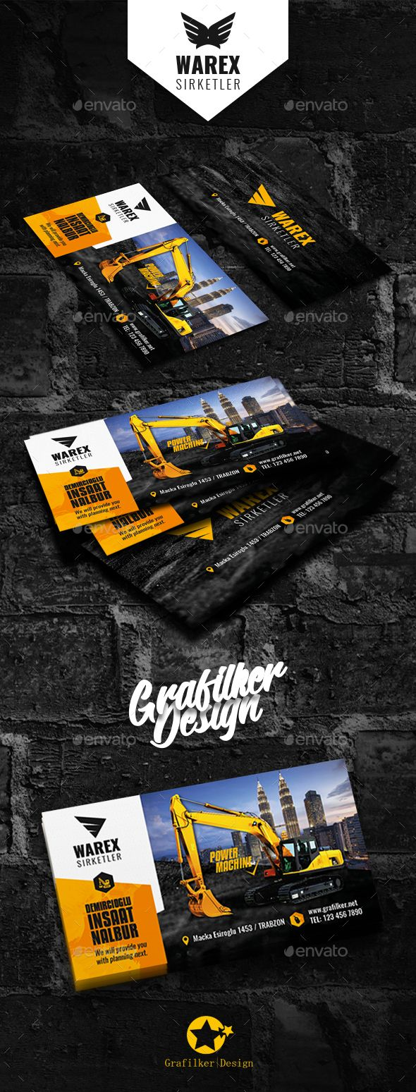 Construction Business Card Templates | Tarjetas de presentación ...