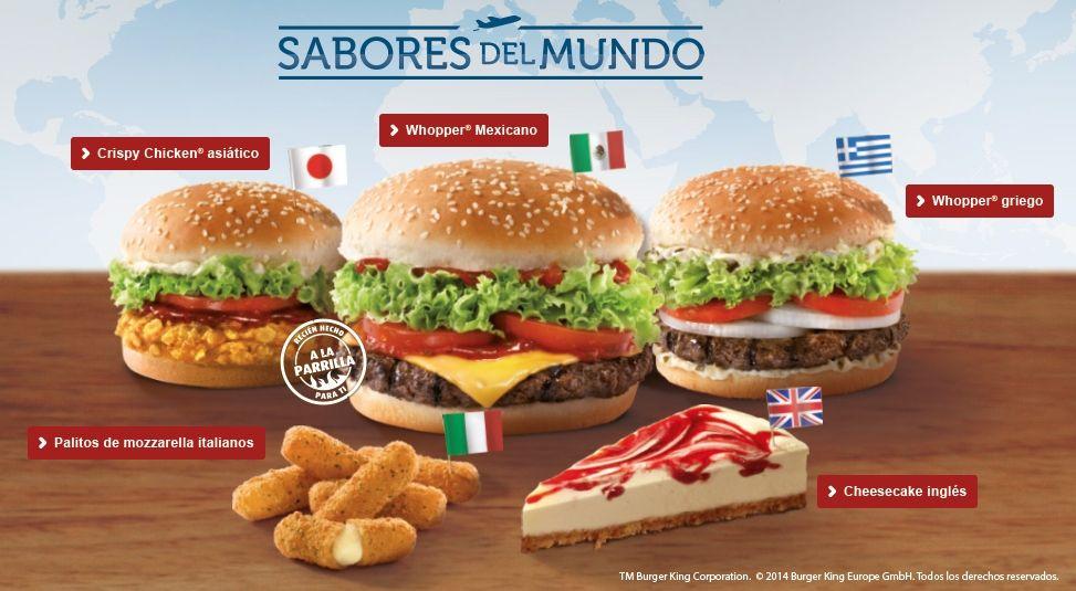 Spain S Flavors Of The World Menu Features Five Items Representing Greece Mexico Japan Italy And The Uk Burger Fast Food Menu Burger King
