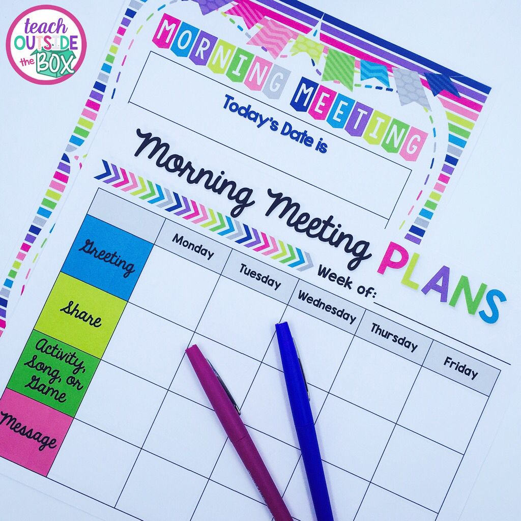 Free Morning Meeting Planning Poster And Forms Back To School