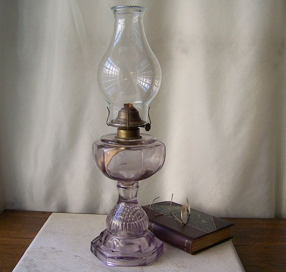 Antique Oil Lamp Purple Glass Table Lamp Berry Fruit Impression Base Sun Purple Glass Oil Lamp Late 1800s Antique Oil Lamps Oil Lamps Lamp