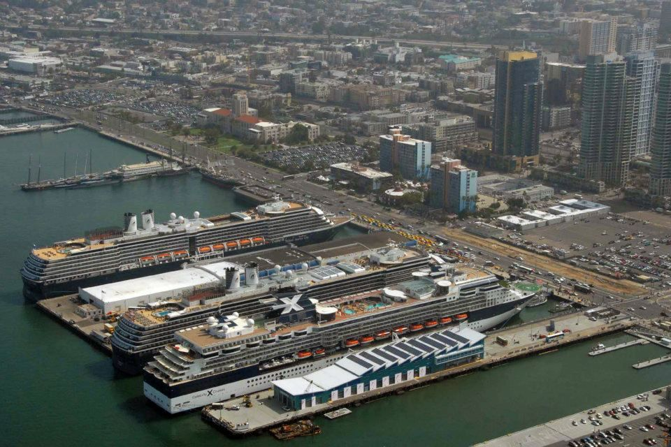 Aerial Shot Of Cruise Ships Celebrity Infinity Holland America - Cruise ships in san diego
