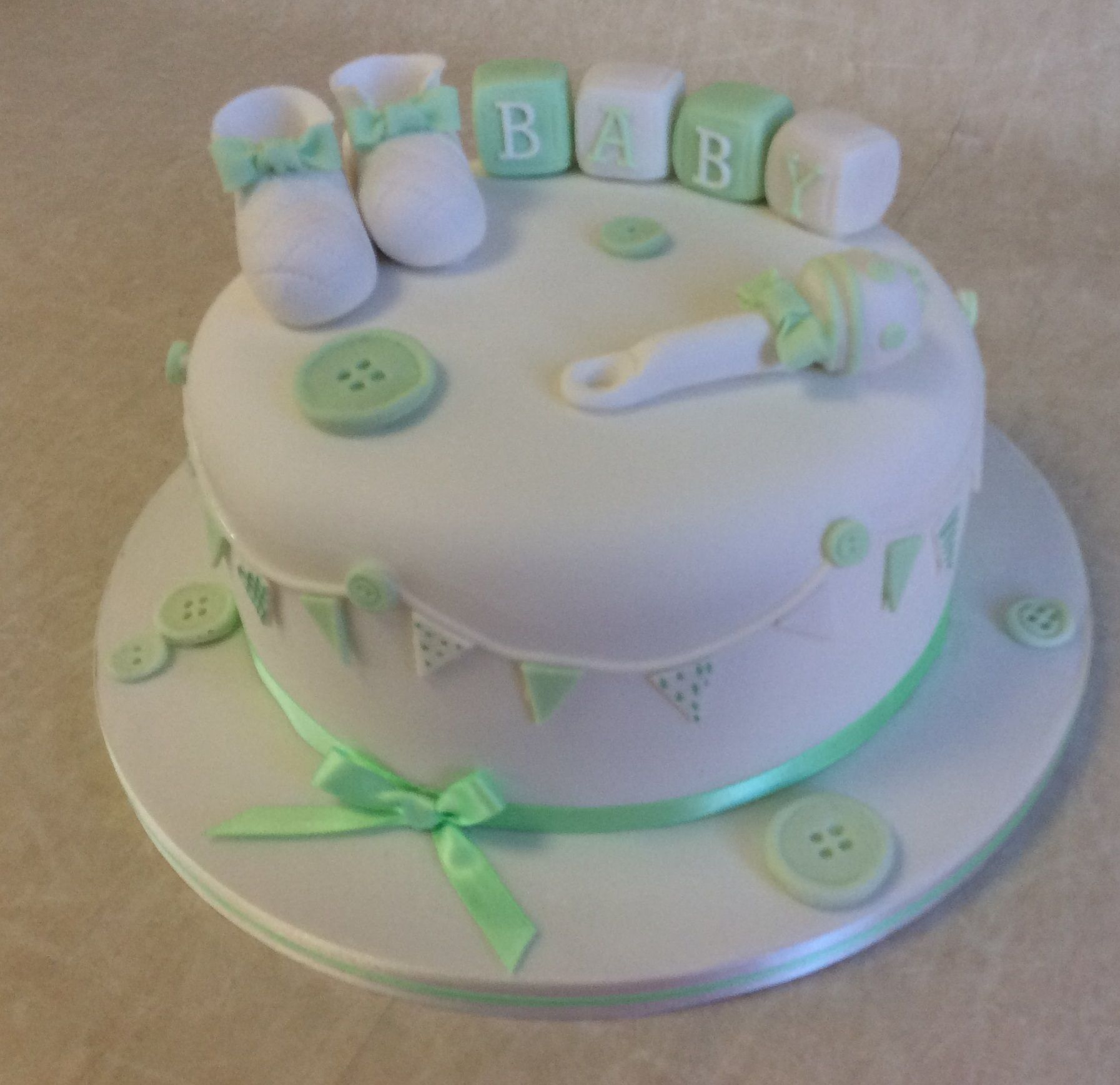 Our Most Popular Baby Shower Cake Design In Mint Green And White
