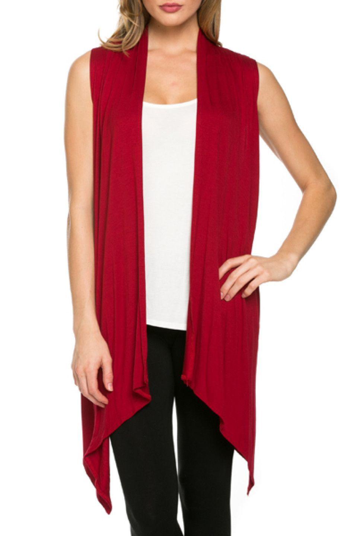 Draped Open Front Jersey Knit Vest | Knit vest and Jersey knits