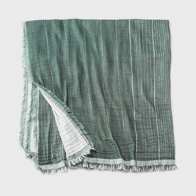 Photo of Women's Striped Large Square Scarf – Universal Thread Green One Size, Women's