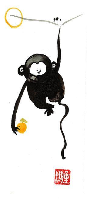 Monkey, Chinese New Year card, Zen Chinese Zodiac, Original Sumi ink ...