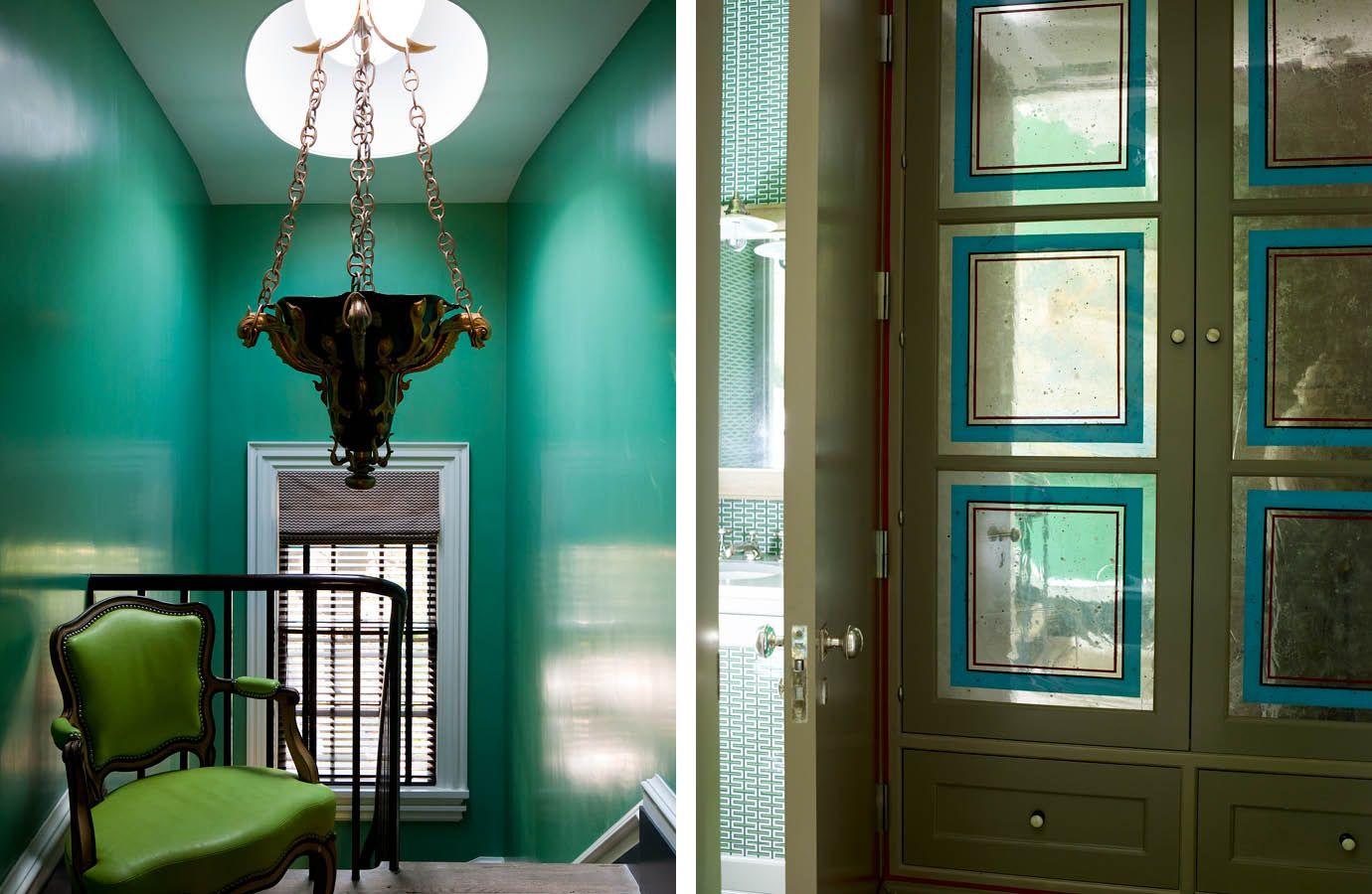 Love the lacquered peacockish green walls. Steven Gambrel