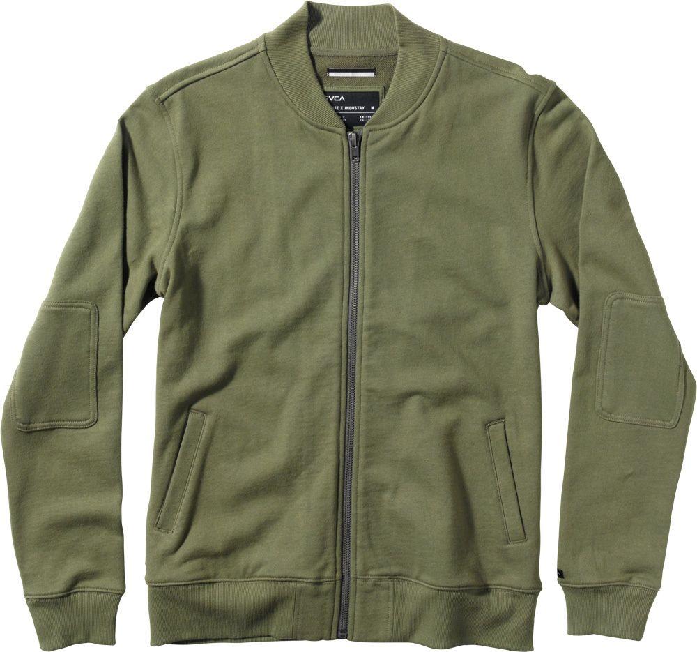 Dissent Bomber Fleece Jacket Rvca Mens Full Zip Sweater Men Sweater Outdoor Gear Clothing [ 935 x 1000 Pixel ]